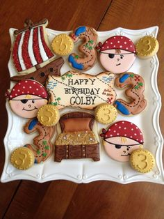Pirate cookies - For all your cake decorating supplies, please visit… Cookies For Kids, Fancy Cookies, Iced Cookies, Royal Icing Cookies, Cupcake Cookies, Cupcakes, Sugar Cookies, Pirate Birthday Cake, Pirate Cupcake
