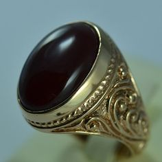 Bronze Men Ring Size Carnelian Persian Vintage by ZeynepGems