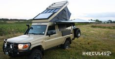The Alu-Cab Land Cruiser Troopy conversion aka the Hercules Roof Conversion, must be the ultimate overland solution. Pick Up, Toyota, Mercedes G Class, 4x4 Off Road, Land Rover Defender, Hercules, Land Cruiser, Rooftop, Offroad