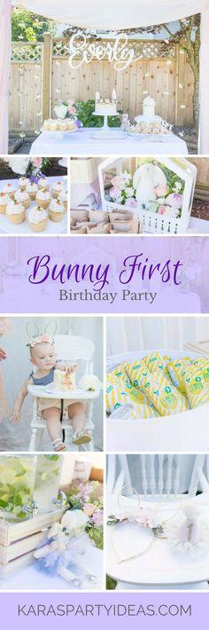 Bunny 1st First Birthday Party via Kara's Party Ideas | KarasPartyIdeas.com