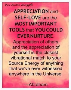 Appreciation and self-love are the most important tools that you could ever nurture. Appreciation of others, and the appreciation of yourself is the closest vibrational match to your source energy of anything that we've ever witnessed anywhere in the Universe. -abraham hicks - Google Search