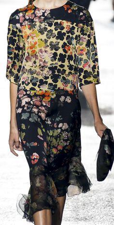 Black Dress with flowers.  dries van noten