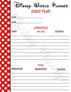 Disney World Planner Daily Plan Freeprintable Disneyworld 2017