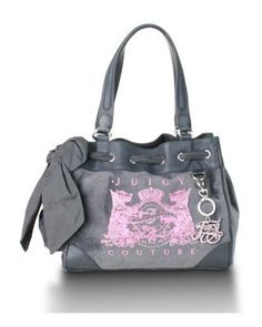Juicy Couture Scottie Velour Embroidery Daydreamer Bag (Grey) Juicy Couture,
