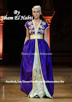 Toujours une touche de dorée, dans un bleu nuit profond Création Siham Elhabti, Dream Caftan (Maroc) Dautres caftan sur Tenues Traditionnelles Marocaines