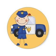 Male Police Officer Tshirts and Gifts Round Stickers