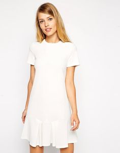 ASOS Shift Dress in Crepe with Peplum Hem