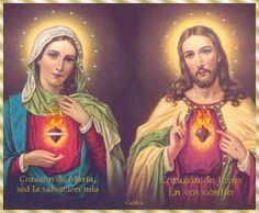IMÁGENES DE LOS  SAGRADOS CORAZONES DE JESÚS Y DE MARÍA