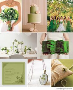 St. Patrick's Day Wedding Colors. Lucky in Love! why have I never thought about this possibility? It is my 3rd favorite holiday, and green is my Favorite color. This definitely needs more color, but it's a starting point for sure.