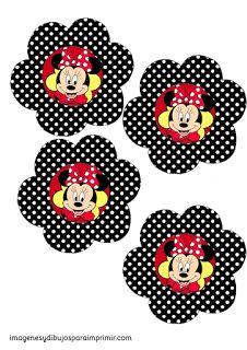 Imprimir toppers de cupcakes de minnie mouse