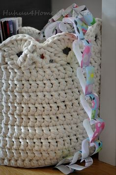 I'm loving the idea of making a few sturdy crocheted baskets for toy storage in my kid's bedroom - I usually have to constantly replace straw baskets since they break so easily!