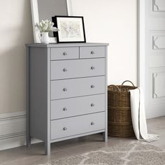 Marlow Home Co. This 6 Drawer Chest is a superb example of painted Scandinavian style furniture with easy clean MDF with stainless steel handles. Chest Of Drawers Upcycle, Chest Of Drawers Decor, Modern Chest Of Drawers, 6 Drawer Chest, Pine Bedroom Furniture, Grey Furniture, Bedroom Decor, Bedroom Inspo, Bedroom Color Schemes