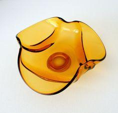 Mid Century Modern Bowl 1960s Amber Hand Blown Glass MCM Home Decor