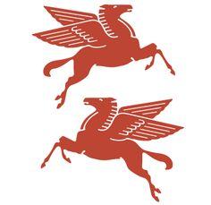 Obverse and reverse of vintage Mobil Oil Pegasus logo