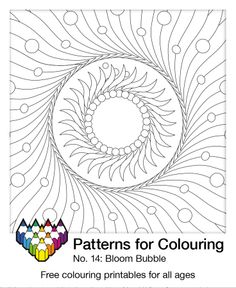 Bloom Bubble pattern. Colouring page number 14. One of hundreds to choose from. May your crayons be forever busy! Pattern Coloring Pages, Colouring Pages, Coloring Books, Number 14, Life Learning, Color Activities, Crayons, Adult Coloring, Pencil Drawings
