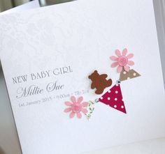 PERSONALISED LUXURY Handmade New Baby Girl Card - Fabric Bunting Bear | eBay