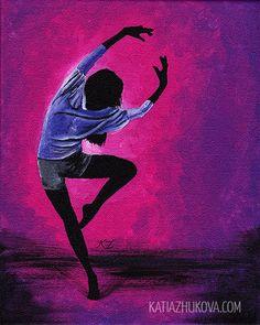 Original Acrylic Painting on Canvas 'Baltimore' 8x10 Dancer Ballet Modern Contemporary. $75.00, via Etsy.