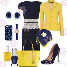 Perfect combination indigo blue and yellow set for business woman #fashionideas #outfitideas #winteroutfit #fashionstyle #fashionidea #outfitidea #fashion
