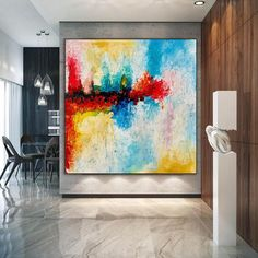 Large Abstract Art-Original Painting Bedroom Wall Art Extra image 3 Large Artwork, Large Canvas Wall Art, Colorful Artwork, Extra Large Wall Art, Large Painting, Canvas Art, Office Wall Art, Modern Wall Art, Original Paintings
