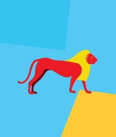An ancient Egyptian lion given the pop art treatment #lion #animal #illustration #bright #ancient egyptian #blue #pop art #primary colors #primary colours #red #yellow #blue Photo Retouching, Photo Editing, Lion Illustration, Web Design, Logo Design, Freelance Graphic Design, Store Signs, Creative Logo, Social Media Graphics