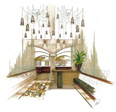 Fine dining lobby interior design concept sketch -Lisa McDennon