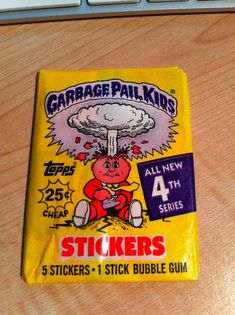 Garbage Pail Kids trading cards from 80s. I had mostly the stickers. They were SOOO gross!!