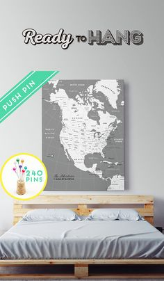 Personalized Push Pin North America Map CANVAS White by Macanaz