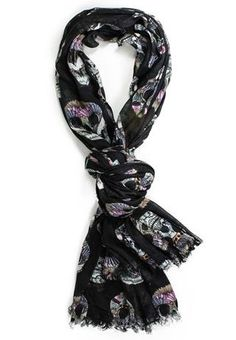 FEATHERED SKULL PRINT SCARF