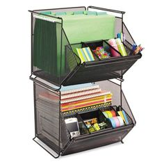 Sturdy black, mesh bin accommodates all your necessary storage needs from office supplies to letter-size hanging file folders and everything in between. Easily makes room for more organizational fun Office Supply Organization, Desktop Organization, Office Storage, Storage Bins, Organization Hacks, Storage Spaces, Organizing Office Supplies, Home School Organization, Printer Storage