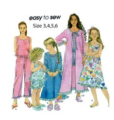 Toddler/Girl Nightwear Simplicity 9292 Easy to Sew Pattern: Bathrobe, Nightgown, Two Piece Pajamas, Capri, Shorts, Top Sz 3-4-5-6 UNCUT by FindCraftyPatterns on Etsy