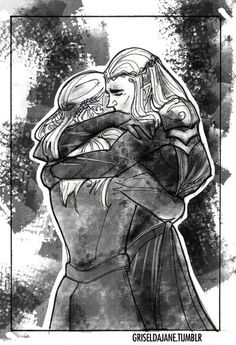 Legolas and Thranduil after the Battle of the Five Armies. Artist's name is at the bottom of the picture!