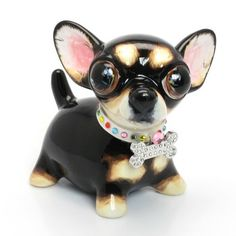 Chihuahua Black Tan Ceramic Piggy bank 00016 Adorable Pet Lover Gifts