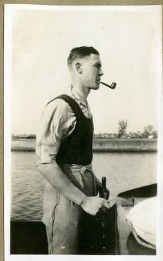 Picture From The Past - sailing boat and pipe. The original Popeye? #pipe #pipesmoking #boat www.eacarey.co.uk