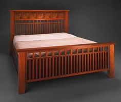 Handmade, custom designed bedroom furniture - beds, bedside tables and dressers Bed Frame Plans, Bed Frame And Headboard, Bed Plans, Bed Frames, Bed Furniture, Cheap Furniture, Furniture Plans, Furniture Design, Craftsman Style Furniture