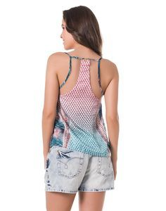 Blusa de Alcinha Estampa Rotativa com Recortes em Tule Azul - Lez a Lez
