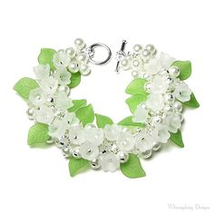 Lily of the Valley Bracelet White Flower by whimsydaisydesigns