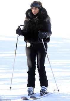 Skiing in style: Kim Kardashian, 33, looked chic in her all-black ensemble as she took to the slopes on Monday