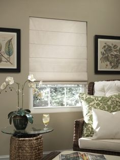 The light color roman shade helps brighten the room.