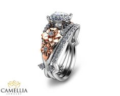 Two Tone Diamond Engagement Ring Set Unique by CamelliaJewelry