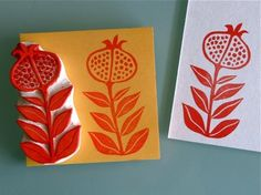 Hand carved stamp - pomegranate