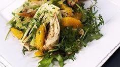 Chicken, Fennel and Orange Salad with Pinwheels - RTE Food/Rachel Allen. Chicken Fennel, Chicken Salad, Fennel And Orange Salad, Roasting Tins, Tapenade, Rachel Allen, Serving Plates, Pinwheels, Great Recipes