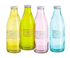 Set de 4 botellas de cristal, multicolor - 1 L