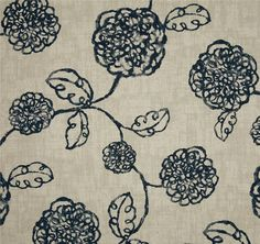 Adele Navy Blue Floral Cotton Print Drapery Fabric by Magnolia Custom Curtains, Fabric Shower Curtains, Drapery Fabric, Drapes Curtains, Navy Home Decor, Home Decor Fabric, Adele, Navy Blue Curtains, Aqua Fabric