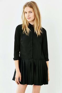 Love Sadie Pleated Drop-Waist Shirtdress - Urban Outfitters