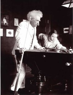 Mark Twain and Louise Paine playing pool, c.1908