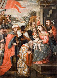 c.1690-c.1720.Anonymous Cusco School (1690-1720) Adoration of the Magi.oil on canvas.1,800х1,495 mm. Museo de Arte de Lima (MALI).
