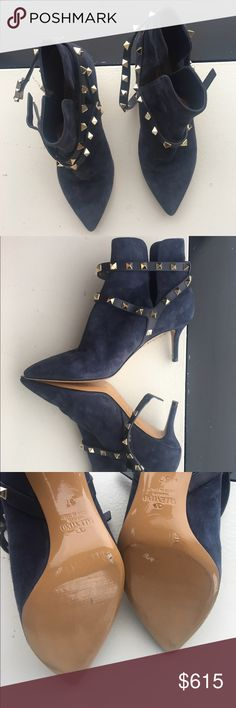 Valentino Rockstud Blue suede ankle booties Authentic Beautiful very Valentino Valentino Garavani Rockstud Blue suede ankle booties Like New! Used once for a photo shooting. Valentino Garavani Shoes Ankle Boots & Booties