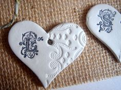 MonogramPersonalized Clay Hearts.