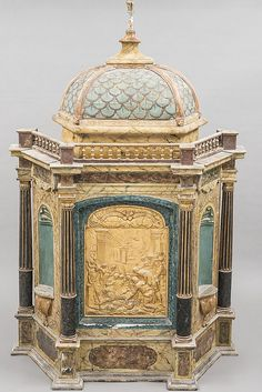 Tabernacle turned Wooden Reliquary, Painted and Weathered Stucco Decorated Columns and Two Side Alcoves and a Central Scene Depicting the Shepherds Adoring the Child Jesus in Low Relief Gilded Stucco