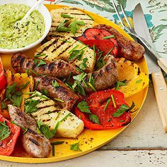 You can have a quick and easy dinner with this recipe for sausage, pineapple, and peppers with an avocado cream sauce.